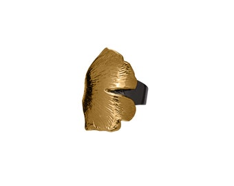 Gold Gingko Leaf on Black Rhodium Band
