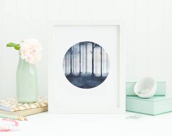 watercolor forest, monochrome forest, forest painting, misty forest, forest print, trees, round painting, watercolor trees, forest wall art