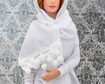 """ELENPRIV white crepe scarf for 16"""" dolls Sybarites FR:16 Tonner Tyler Kingdom doll Numina BJD Tulabelle Poppy Fashion Teen dolls"""