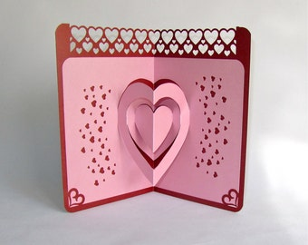 VALENTINES Day 3D Pop Up Card ORIGINAL DESIGN Handmade Handcut In Metallic Pink And Dark Red One Of A Kind