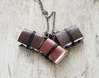 Classic chocolate Mini book jewelry, tiny book pendant, miniature book necklace, journal necklace, leather literature necklace,