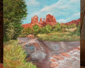 Southwest Décor Desert Landscape Sedona Arizona Original Art 12 x 12 Acrylic Painting Wall Art Gallery Wrap National Landmark Arizona Desert