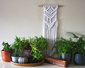White Cotton Wall Hanging with V-Shape design