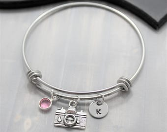 Photography Bracelet - Gift for Photographer - Photography Jewelry - Silver Camera Bracelet - Personalized Photography Themed Gift