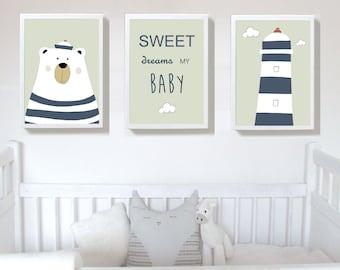 Set of 3 Prints,nursery art prints , baby nursery decor ,nursery wall art, Children Art - Kids Room
