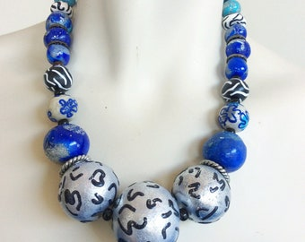 Blue and Silver Statement Necklace / Chunky Blue Beaded Necklace / Mixed Print Large Bead Jewelry / Lapis Lazuli Necklace / Leopard Print