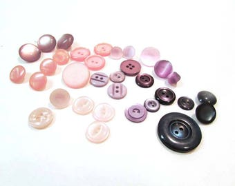 Vintage Button Lot Pinks and Blues