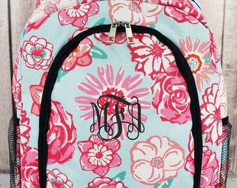Monogram Backpack, Personalized backpack, Girls backpack, Monogram Backpack, Floral Print, Back To School, Birthday Gift, Monogram Bag