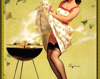 Vintage Pin-Up Girl Grilling Out by Gil Elvgren 1950s ~ NEW 8x10 Art Print Reproduction