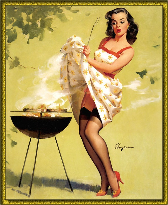 Pin Up Calendar Vintage : Vintage pin up girl grilling out by gil elvgren s new