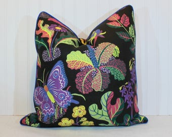 One or Both Sides - Exotic Butterfly Spring/Leaf/Red/Multi/Black/Blue by Schumacher Pillow Cover with Self Cording