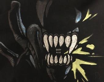 Hand-Painted Alien Xenomorph Acid drip T-shirt