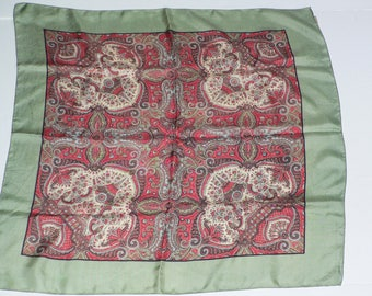 Vintage Silk Liberty of London Scarf Green with Paisley Print