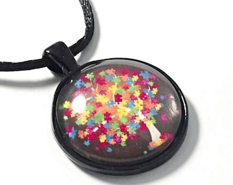 Autism necklace autism awareness jewelry puzzle piece pendant multi colored tree of life necklace gift for autism mom and teachers free ship