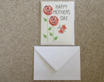 Greetings Card *Made in UK* Blank Occasions *Mothers Day* Roses