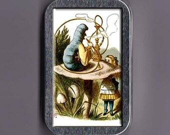 Alice In Wonderland and Hookah Smoking Caterpillar Stash Box Tin