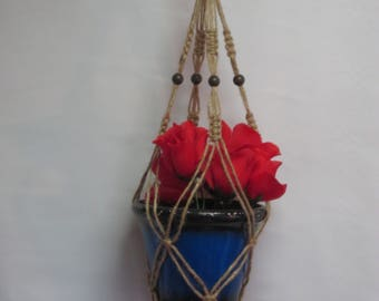 Macrame Plant Hanger Natural Jute Vintage Style 24 inch with BEADS