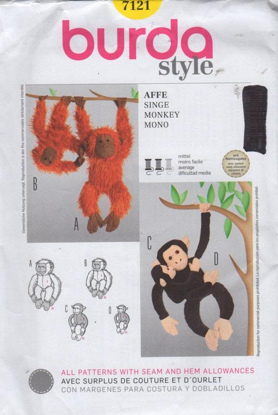 Burda 7121 Affe Schimpanse Orang-Utan Nähen Muster 3 Größen 17