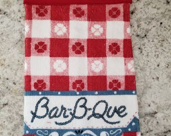 Hanging Kitchen Towel/Red Bar-B-Que Towel