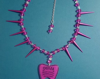 Ouija Planchette Necklace with Pink Spikes and Beads Cute/Goth/Necklace/Kawaii/Pendant