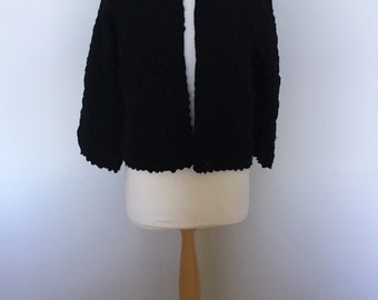 Lovely 1960's vintage black crochet jacket