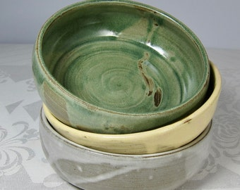 Handmade Pottery Bowl - Choice of Blue, White, Yellow, or Green - Dark Chocolate-colored Clay