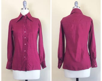 60s Frederick and Nelson Wine Burgundy Blouse / 1960s / Vintage Linen Button Up Top / Blouse