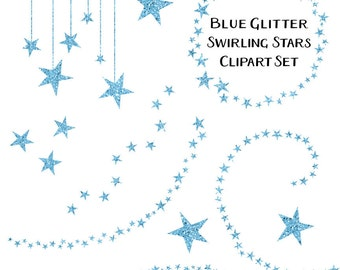 Sparkling Blue Glitter Star Clipart, Swirling Stars Clip Art, Instant Download, Commercial Use Glitter Clipart