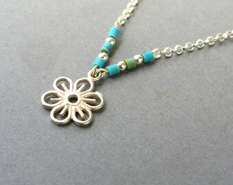 Sterling silver Turquoise flower necklace, Turquoise necklace,Tiny Turquoise beaded necklace,silver flower necklace, Tiny Flower Necklace