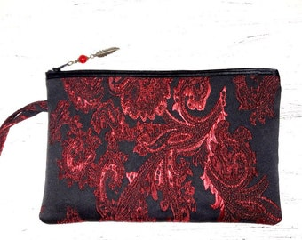 Large pouch, baroque, Burgundy, black and Red