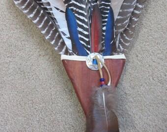 Native American Dance Fan, Smudge Fan, Prayer Feather, Powow Regalia, Macaw Feather, Turkey Feather, Cedar Handle, Deerskin, Wall Decor Fan2