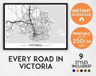 Victoria map print, Victoria print, Victoria city map, Canada map, Canada print, Victoria poster, Victoria wall art, Map of Victoria