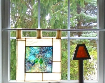 Two Birds ~ Bleached Art Batik ~ Stained Glass Look Fabric Pojagi Window Treatment / dorm / cafe / boudoir curtain