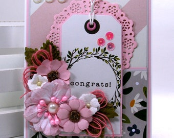 Congrats Greeting Card Polly's Paper Studio Handmade