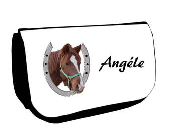 Black Horse /crayons make-up case personalized with name