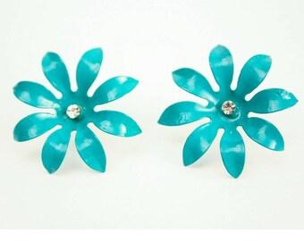 80's Flower EARRINGS // Turquoise Tropical // Pierced Ears // Rockabilly Pin Up