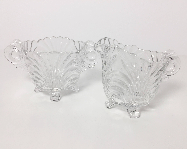 Cambridge Glass Crystal Caprice Open Sugar And Creamer Set
