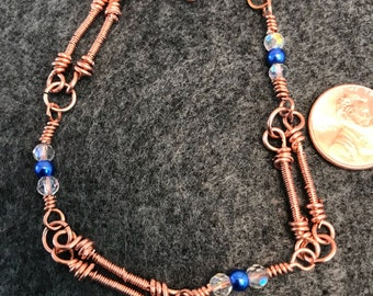 Beads and Wrapped Bars Bare Copper Wire Bracelet