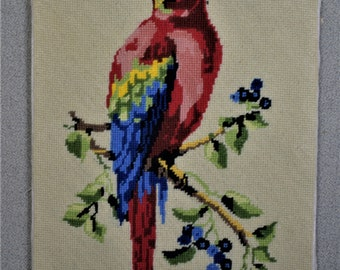 Finished Needlepoint Parrot in Tree