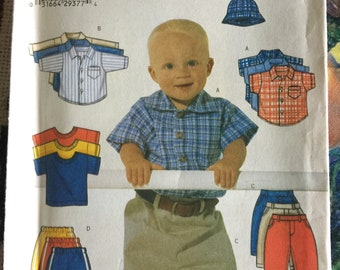 6030 Butterick Sewing Pattern, Baby Boy, Pants, Shirts, Hats