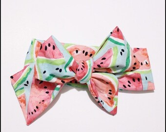 Watermelon big bow headwrap baby toddler kids turban- watercolored headband bow
