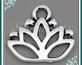 12 Silver Lotus Flower Charms 17mm PS59