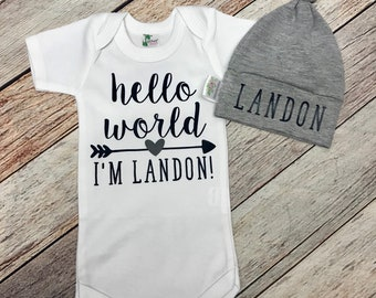 Hello World Newborn Outfit with Hat , Personalized Bodysuit, Baby Shower Gift, Take Home Outfit, Hello World