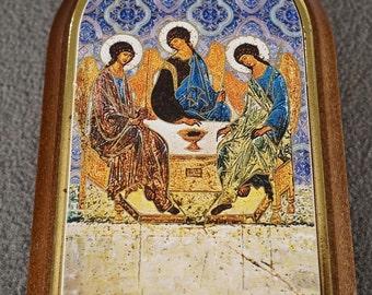 Vintage Italian Florentine Gold Gilt On Wood Religious Multi Figural 's Icon Religious Fancy Table Top Piece          **RL