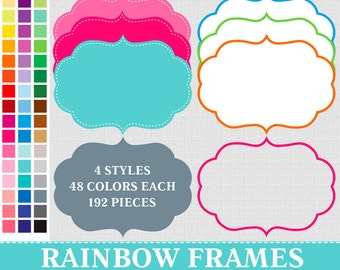 192 Digital Rainbow Frames Labels Clip Art ,