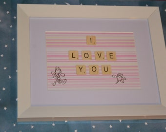 I love you scrabble tile quote frame