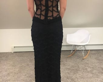 Stunning Mesh and Fringe Formal Dress