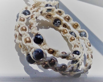 Snowflake obsidian and hemp macrame multi-wrap bracelet