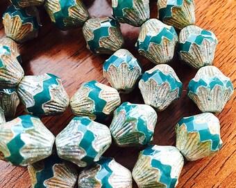 Emerald Green Baroque Bicone Beads, Green Czech Glass Bicones, Large Glass Beads, Green Glass Beads, 13x11mm - 14 beads (GB-06)