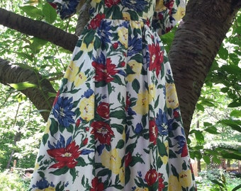 Floral summer  dress cotton  frock  roses 80's does  50s medium from vintage opulence on Etsy